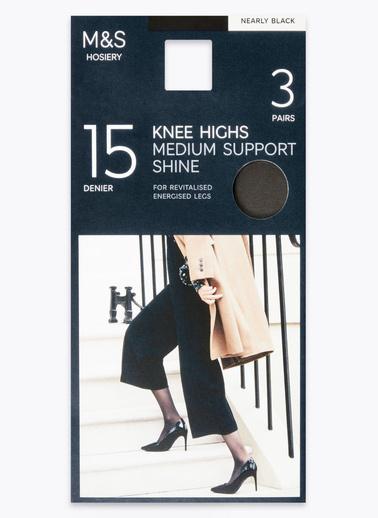 Marks & Spencer 3'lü 15 Denye Medium Support Diz Altı Çorap Seti Siyah